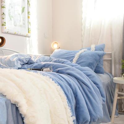 2018新款进口兔兔绒+宝宝绒四件套 1.2m床 天真蓝