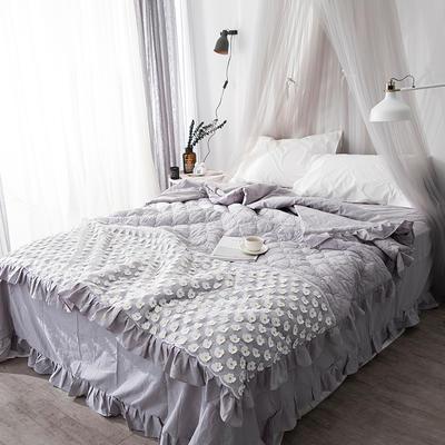 2018新款公主风全棉水洗棉套件可可夏被 200X230cm 灰色