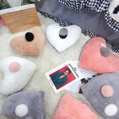 2018新款兔兔绒抱枕-爱心抱枕 45x40cm 粉白爱心