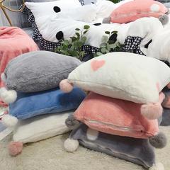 2018新款兔兔绒抱枕-方抱枕 50X50cm 粉白爱心