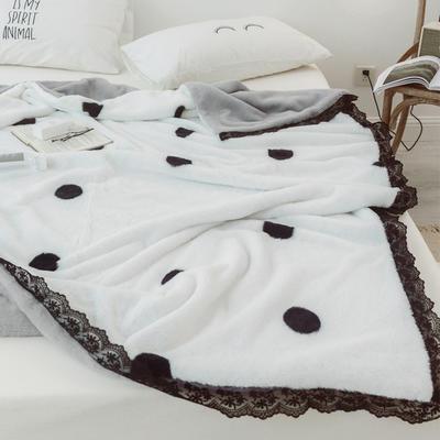 2018兔兔绒蕾丝款毯子 100X150cm 白底黑波点