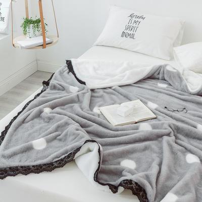 2018兔兔绒蕾丝款毯子 100X150cm 灰底白点