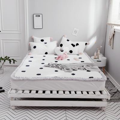 2018新款兔兔绒床垫三件套 单垫子:120*200cm 黑白波点