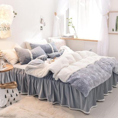 2018新款MISS COCO兔兔绒+宝宝绒四件套 1.2m)床(三件套) 皓石灰