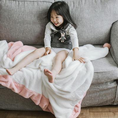 2018新款兔兔绒多功能毯 100*150cm 粉白