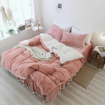 2018新款兔兔绒小球款四件套 1.2m床 粉色