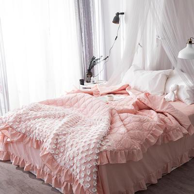 2018新款公主风全棉水洗棉套件可可夏被 200X230cm 粉色