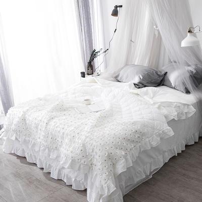 2018新款公主风全棉水洗棉套件可可夏被 220x240cm 白色