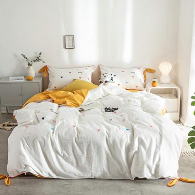 2019新款水洗棉刺绣四件套 1.5m床(床单款) 爱心-白色+姜黄