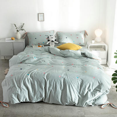2019新款水洗棉刺绣四件套 1.8m床(床单款) 爱心-水绿