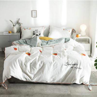 2019新款水洗棉刺绣四件套 1.8m床(床单款) 橘子-白+水绿