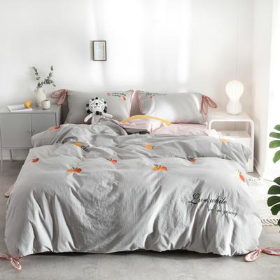 2019新款水洗棉刺绣四件套 1.8m床(床单款) 橘子-灰色