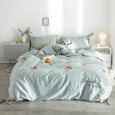 2019新款水洗棉刺绣四件套 1.8m床(床单款) 橘子-水绿