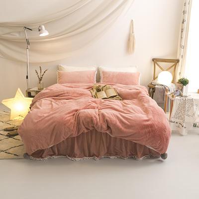 2019新款兔兔绒小球款四件套 1.2m床裙款三件套 粉色