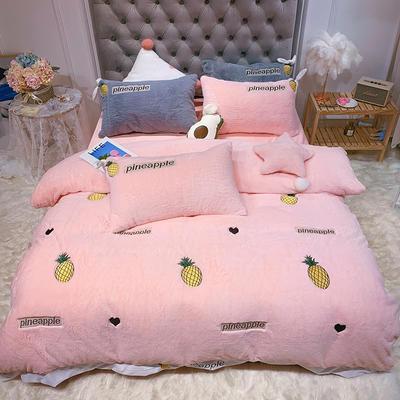 2019新款兔兔绒星愿系列四件套(实拍) 1.2m(4英尺)床单款 星愿菠萝-粉色