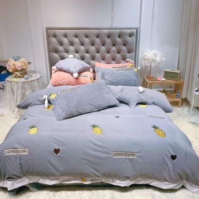 2019新款兔兔绒星愿系列四件套(实拍) 1.2m(4英尺)床单款 星愿菠萝-灰色