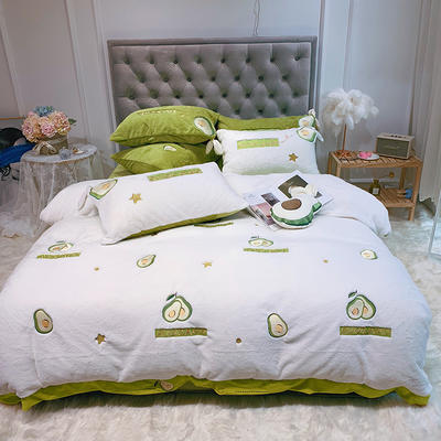 2019新款兔兔绒星愿系列四件套(实拍) 1.2m(4英尺)床单款 星愿牛油果-白色
