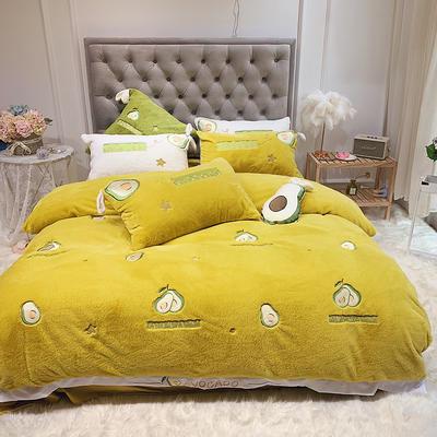 2019新款兔兔绒星愿系列四件套(实拍) 1.2m(4英尺)床单款 星愿牛油果-柠檬黄