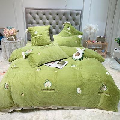 2019新款兔兔绒星愿系列四件套(实拍) 1.2m(4英尺)床单款 星愿牛油果-绿