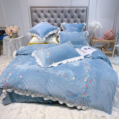 2019新款寶寶絨繡花四件套(實拍) 1.5m(5英尺)床 藍