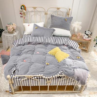 2019新款兔兔絨糖寶款四件套 1.2m(4英尺)床單款三件套 貴族灰