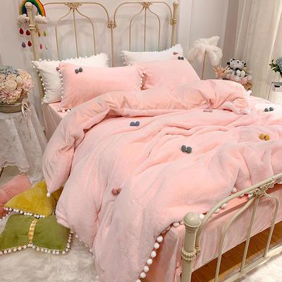 2019新款兔兔絨糖寶款四件套 1.2m(4英尺)床單款三件套 少女粉