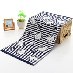 2018新款毛巾 条纹kitty 蓝 34*74cm