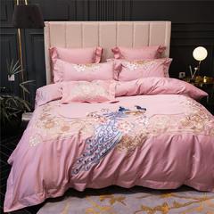 简奢粉色100支双股长绒棉四件套孔雀重工刺绣床上用品厂家批发 1.5m(5英尺)床 方垫60*60