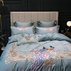蓝孔雀重工刺绣床上用品多件套100支双股纯棉长绒棉四件套家纺 1.5m(5英尺)床 刺绣抱枕含芯35*50