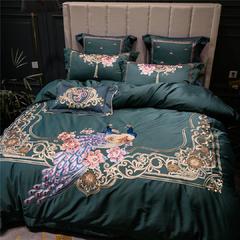 贵族祖母绿孔雀刺绣床上用品100支双股长绒棉四件套家纺厂家 1.5m(5英尺)床 云雀新语绿