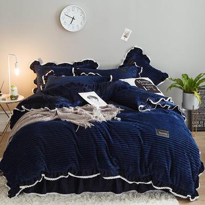 2019新款兔兔绒水晶绒四件套 特大款2.0m床 床裙款 妮可-藏兰