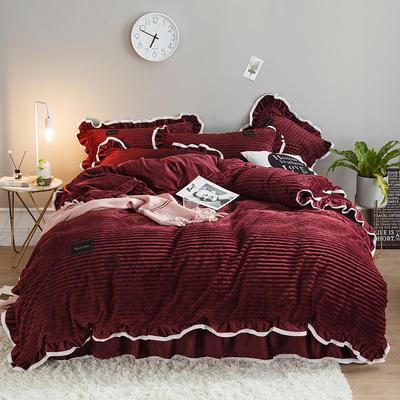 2019新款兔兔绒水晶绒四件套 特大款2.0m床 床裙款 妮可-酒红