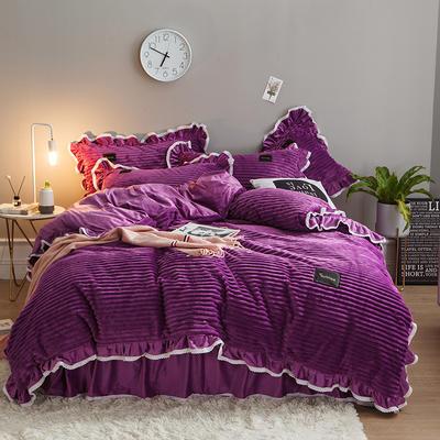 2019新款兔兔绒水晶绒四件套 特大款2.0m床 床裙款 妮可-魅紫