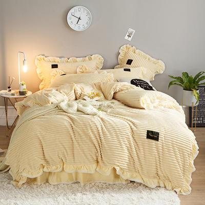 2019新款兔兔绒水晶绒四件套 特大款2.0m床 床裙款 妮可-米黄