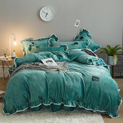 2019新款兔兔绒水晶绒四件套 特大款2.0m床 床裙款 妮可-水绿
