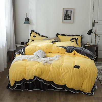 2019新款兔兔绒水晶绒四件套 特大款2.0m床 床裙款 妮可-柠檬黄+灰