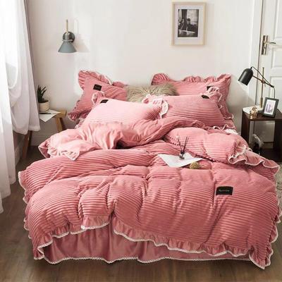 2019新款兔兔绒水晶绒四件套 小号款1.2m床 床裙款 妮可-豆沙