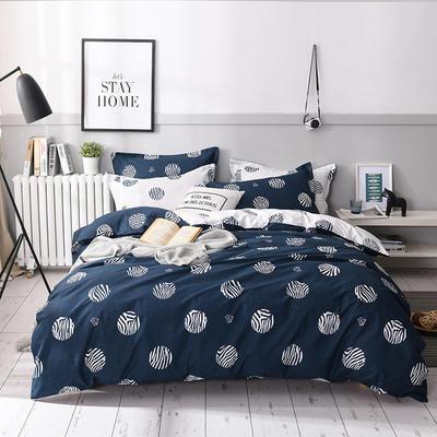 2019新款-全棉13372印花四件套 三件套1.2m(4英尺)床 可可圈-蓝