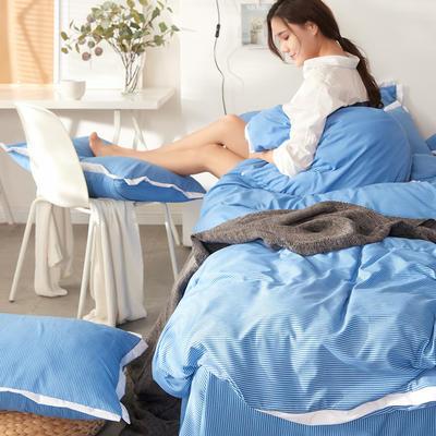 2019新款奢丝棉英伦风四件套 1.2m(4英尺)床单款 宝石蓝