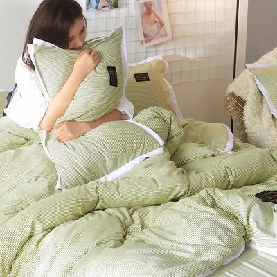 2019新款奢丝棉英伦风四件套 1.2m(4英尺)床单款 翡翠绿