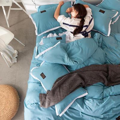 2019新款奢丝棉英伦风四件套 1.2m(4英尺)床单款 湖蓝