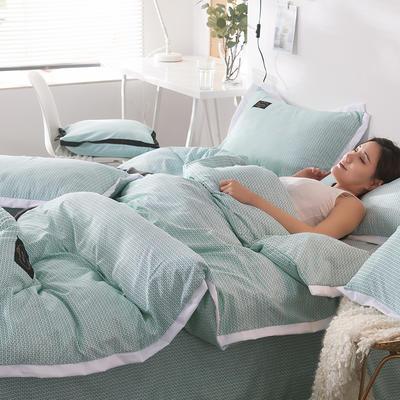 2019新款奢丝棉英伦风四件套 1.2m(4英尺)床单款 珊瑚绿