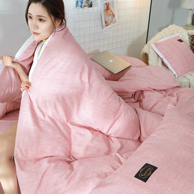 2019新款奢丝棉英伦风四件套 1.2m(4英尺)床单款 水晶粉