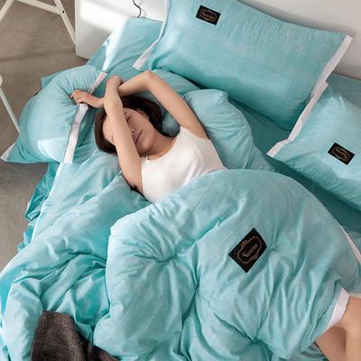 2019新款奢丝棉英伦风四件套 1.2m(4英尺)床单款 蔚蓝