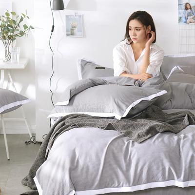 2019新款奢丝棉英伦风四件套 1.2m(4英尺)床单款 星空灰