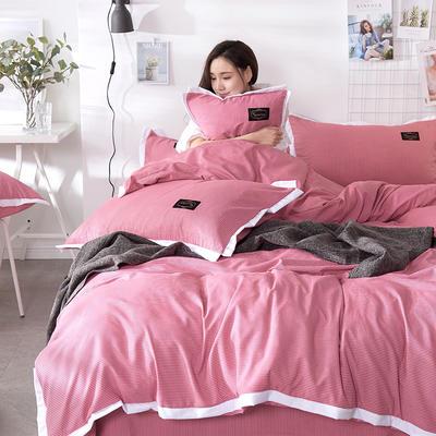2019新款奢丝棉英伦风四件套 1.2m(4英尺)床单款 胭脂红