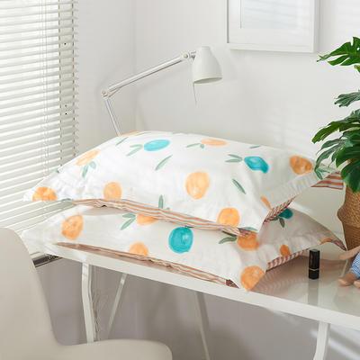 2019新款-全棉13372印花单品枕套 48cmX74cm/一对 橙日幽香