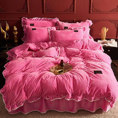 2019新款兔兔绒水晶绒四件套 特大款2.0m床 床裙款 妮可-靓红
