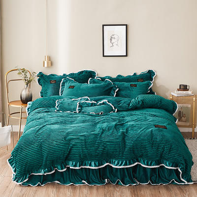 2019新款兔兔绒水晶绒四件套 特大款2.0m床 床裙款 妮可-墨绿