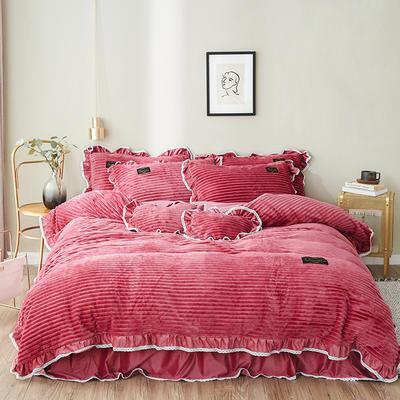2019新款兔兔绒水晶绒四件套 特大款2.0m床 床裙款 妮可-珊瑚红